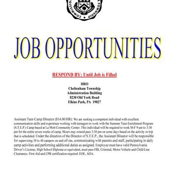 Cheltenham Township Job Opportunity