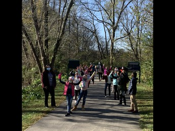 2nd Graders Enjoying the Story Walk on the Greenway