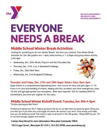 Winter Break Activities at the Y!