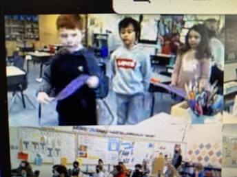 1/2F leading us in prayer during our virtual assembly.