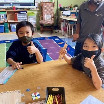 Students give a thumbs up while doing a math game