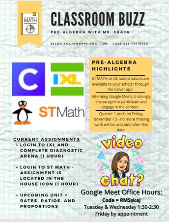 An update in Pre-Algebra with Ms. Skaja: