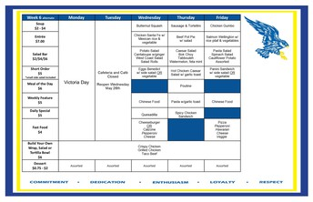 Cafeteria Menu May 25-28
