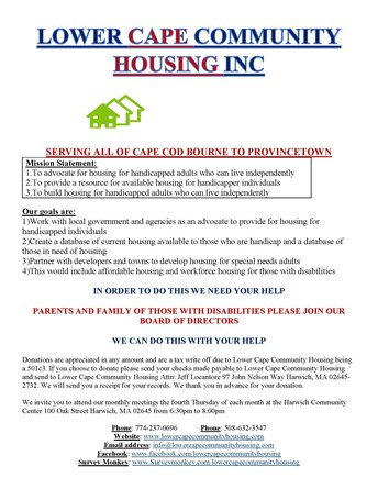 Lower Cape Community Housing Inc is looking for students to get involved