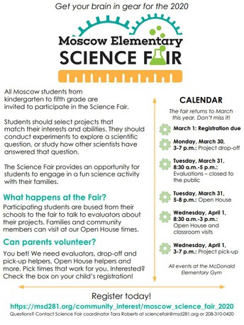 The 2020 Moscow Elementary School Science Fair is almost here!
