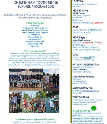 Cheltenham Youth Tennis Summer Program