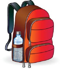 Backpack and water bottle