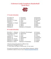 BCMS Lady Longhorn Basketball Schedule