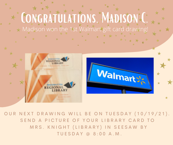 Picture of Walmart gift card drawing info