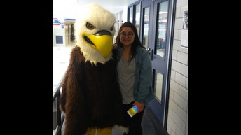 Valentina poses with Swoop the Eagle