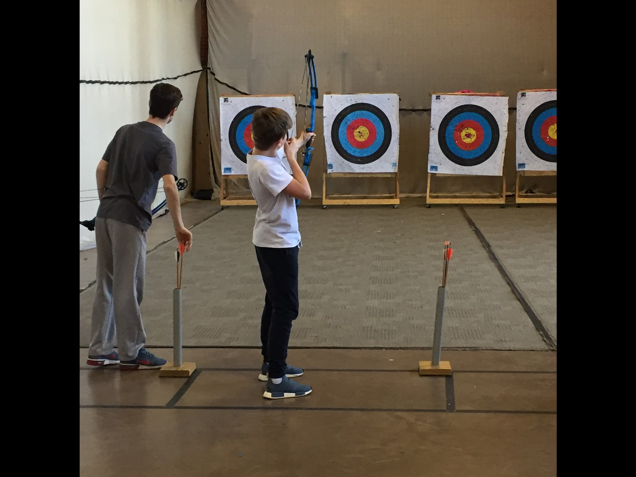 Students in archery area.