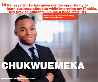 Elsik High School student Chukwuemeka Agu was spotlighted by Genesys Works in its annual report.