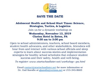 Adolescent Health and School Start Times Workshop
