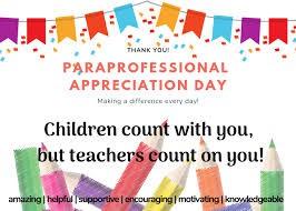 Paraprofessional/Educational Assistants Appreciation Week