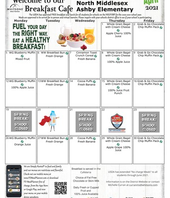 April 2021 Breakfast Menu
