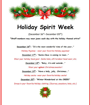Join the WCES Staff in our Holiday Spirit Week Activities!