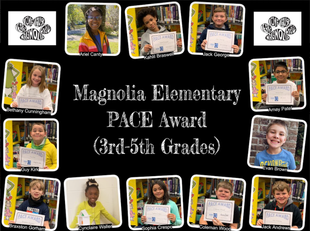 pictures of P.A.C.E. 3rd grade - 5th grade award winners