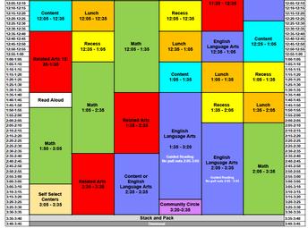 CCES Master Schedule Noon - 3:45 p.m.