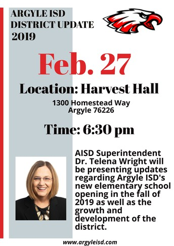 ARGYLE ISD SUPERINTENDENT DR. TELENA WRIGHT WILL PRESENT A DISTRICT UPDATE IN THE HARVEST COMMUNITY