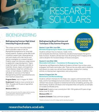 Summer Research Scholars Program information for Bioengineering