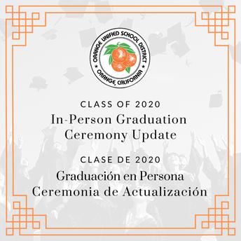 In-Person Graduation Update
