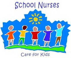 """This is a clipart image with the words """"School Nurses"""" located at the top. A sun in the middle with several children standing below the sun. At the bottom of the image it says, """"Care for Kids""""."""