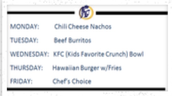 Cafe Menu for the Week of September 25th