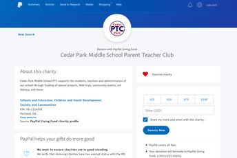 "Cedar Park PTC Added to PayPal ""Make an Impact"""