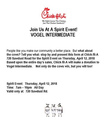 Chick fil A Spirit Night - Thursday, April 12