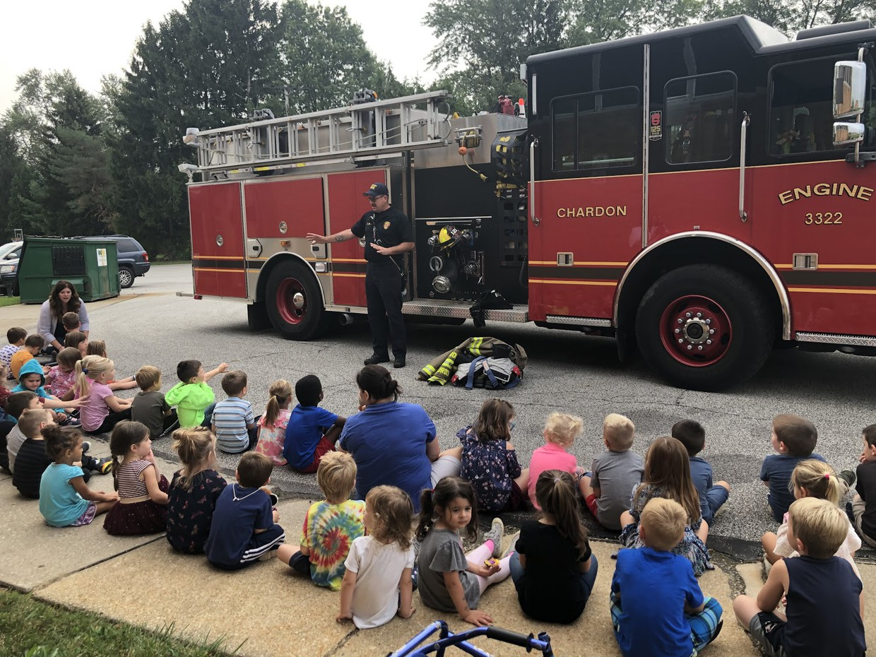 Chardon Fire Department visits Tiny Toppers.