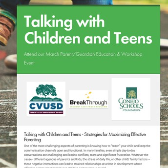Talking with Children and Teens - Strategies for Maximizing Effective Parenting - Join us for our March Parent/Guardian Education & Workshop Event!