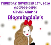 From the PTC:  Upcoming Sip and Shop at Bloomingdale's