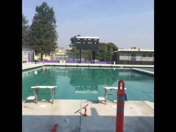 Front view of the new pool