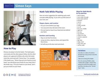 Simon Says Family Math Activity