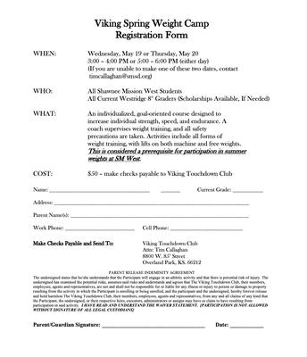 Summer Weights Registration