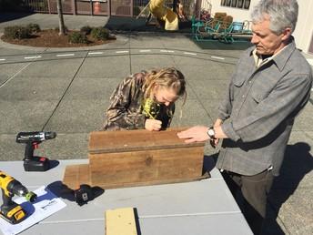 McKenzie and Mr. Lewis building bird boxes!