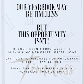 LAST CALL TO ORDER 2018-2019 YEARBOOKS!