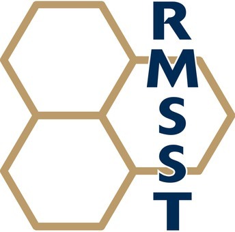 The magnet logo featuring three gold hexagon outlines and the text RMSST in blue