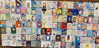 Mr. Dickey's Art Wall is Filled With Fun and Scary Pictures!
