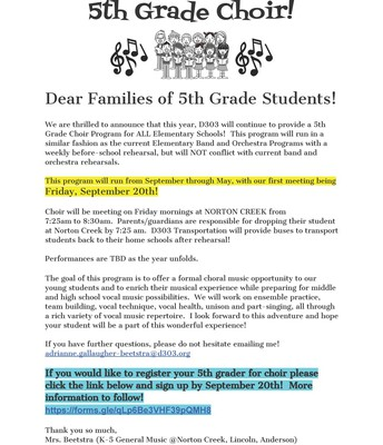 5th Grade Choir Registration