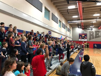Elementary students are fired up at the Homecoming Pepfest!