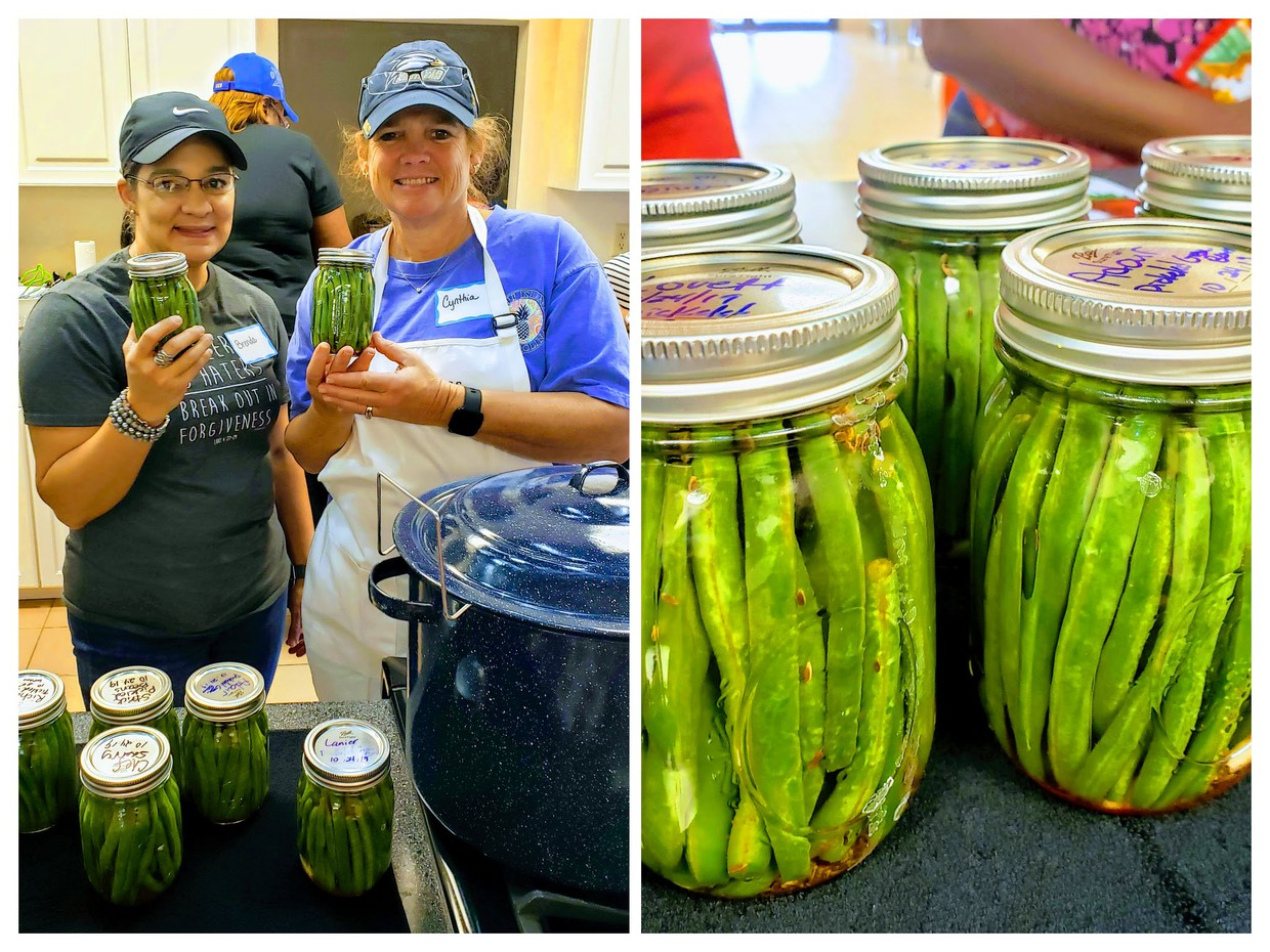 This is a composite image of two photographs. The photo on the left shows Brenda Clark and Cynthia Lovette showing jars of green beans each canned during a workshop. The photograph on the right shows jars of canned green beans. This image is also a link to information from the University of Georgia's Extension site related to canning.