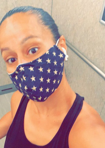 Abby Serrano shows us her star-spangled mask.