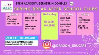 Educare Afterschool Club Schedule