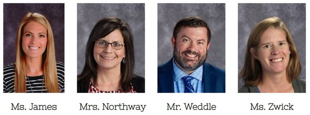Includes 4 pictures: Ms. James, Mrs. Northway, Mr. Weddle, and Ms. Zwick