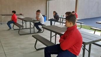 8th Grade Retreat in the Pavillion