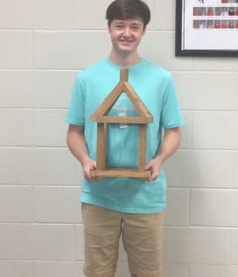 Canaan Graves with his first place design.