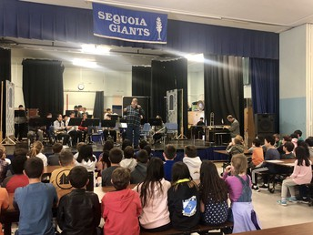 Concert Band playing to Sequoia Elementary 5th Graders