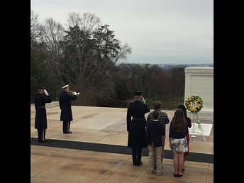7th graders participating in the Laying of the Wreath Ceremony.
