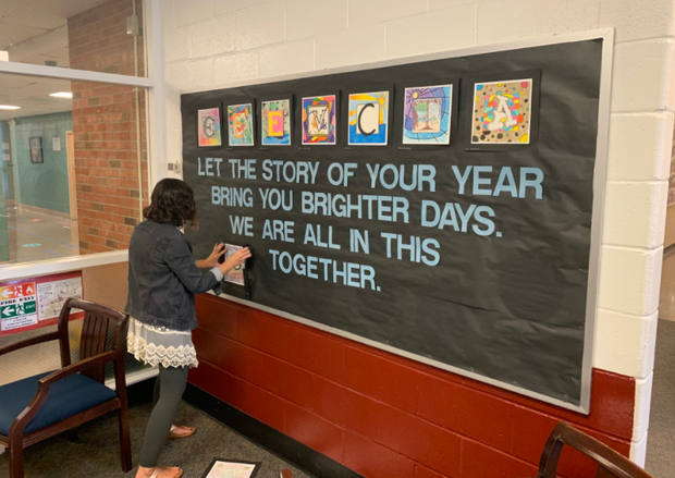 FMS art teacher Ms. Rodrigues created an inspirational student work display in the FMS main office